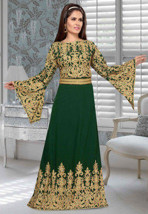 Embroidered Georgette Abaya in Dark Green