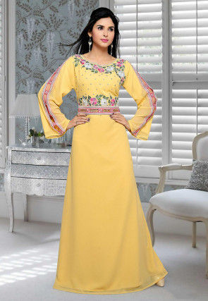 Embroidered Georgette Abaya in Light Yellow