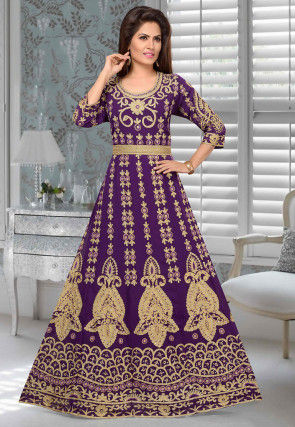 Embroidered Georgette Abaya in Purple