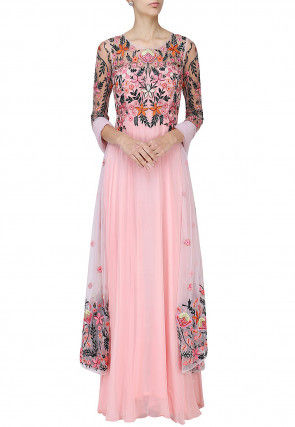 Embroidered Georgette Abaya Style Suit in Baby Pink