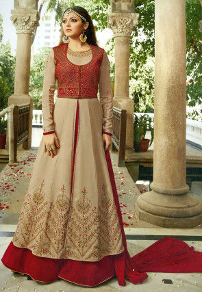Embroidered Georgette Abaya Style Suit in Beige and Fuchsia