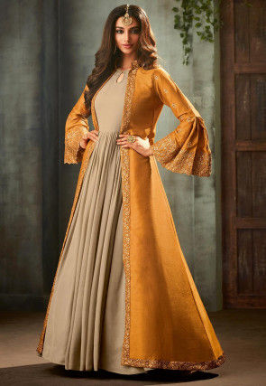 Embroidered Georgette Abaya Style Suit in Beige and Mustard