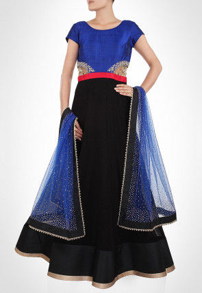 Embroidered Georgette Abaya Style Suit in Black and Royal Blue