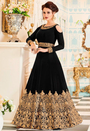 Embroidered Georgette Abaya Style Suit in Black