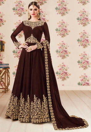 Embroidered Georgette Abaya Style Suit in Brown