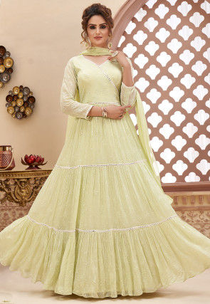 Embroidered Georgette Abaya Style Suit in Cream