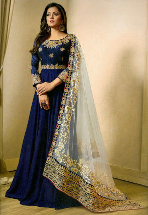 Embroidered Georgette Abaya Style Suit in Dark Blue