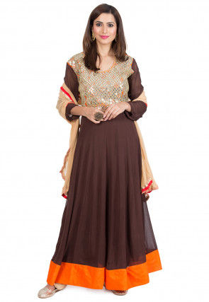 Embroidered Georgette Abaya Style Suit in Dark Brown and Orange