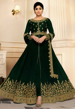 Embroidered Georgette Abaya Style Suit in Dark Green