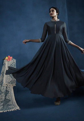 Embroidered Georgette Abaya Style Suit in Dark Grey