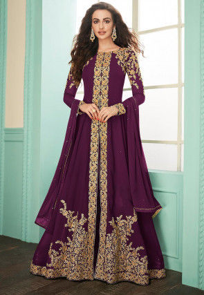 Embroidered Georgette Abaya Style Suit in Dark Purple