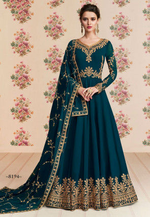 Embroidered Georgette Abaya Style Suit in Dark Teal Blue
