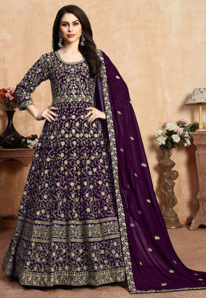 Embroidered Georgette Abaya Style Suit in Dark Wine
