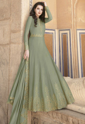 Embroidered Georgette Abaya Style Suit in Dusty Green