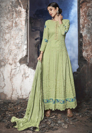 Embroidered Georgette Abaya Style Suit in Green