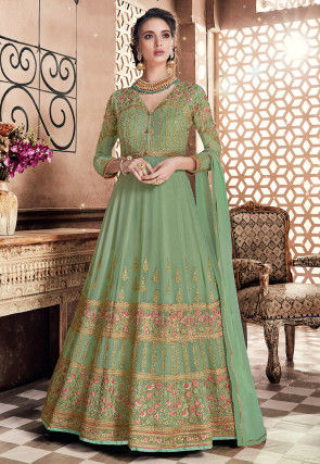 Embroidered Georgette Abaya Style Suit in Light Green