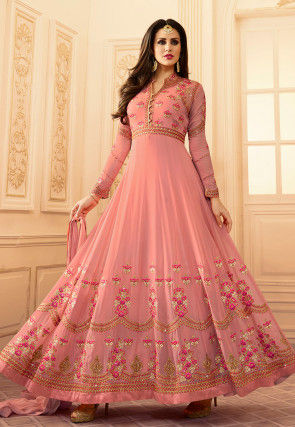 Embroidered Georgette Abaya Style Suit in Light Peach
