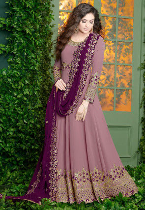 Embroidered Georgette Abaya Style Suit in Light Purple