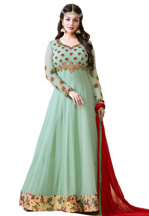 Embroidered Georgette Abaya Style Suit in LIght Sea Green