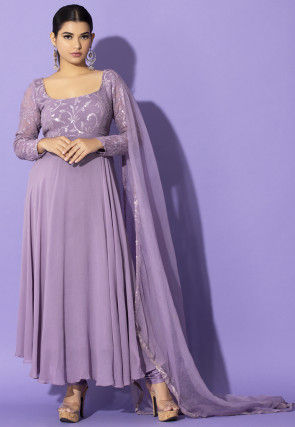 Embroidered Georgette Abaya Style Suit in Lilac