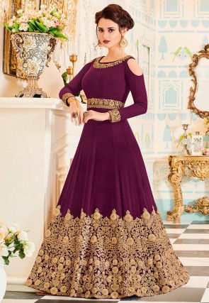 Embroidered Georgette Abaya Style Suit in Magenta