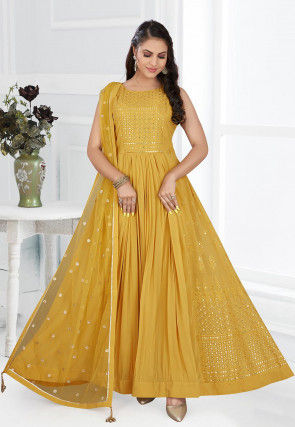 Embroidered Georgette Abaya Style Suit in Mustard