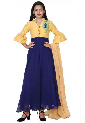 Embroidered Georgette Abaya Style Suit in Navy Blue and Yellow