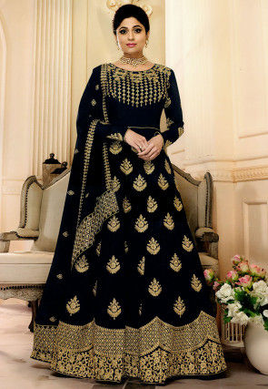 Embroidered Georgette Abaya Style Suit in Navy Blue