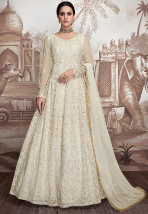 Embroidered Georgette Abaya Style Suit in Off White