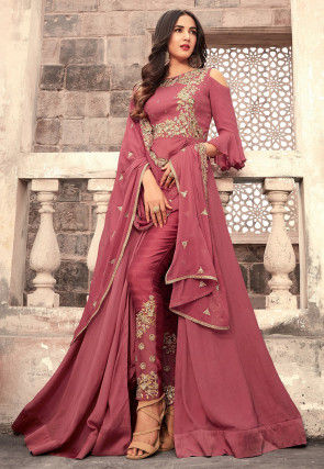 Embroidered Georgette Abaya Style Suit in Old Rose