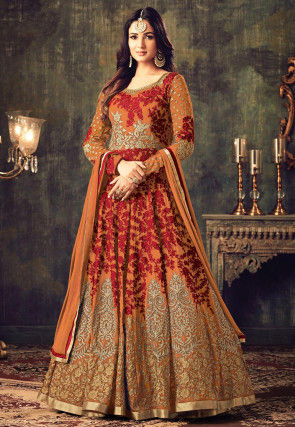 Embroidered Georgette Abaya Style Suit in Orange