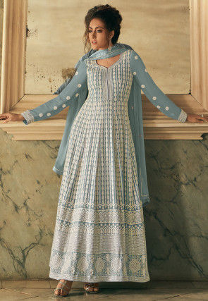Embroidered Georgette Abaya Style Suit in Pastel Blue