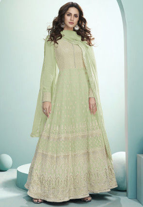 Embroidered Georgette Abaya Style Suit in Pastel Green
