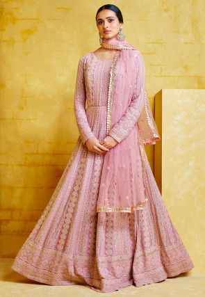 Embroidered Georgette Abaya Style Suit in Pink