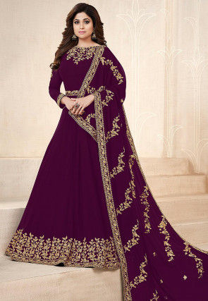 Embroidered Georgette Abaya Style Suit in Purple