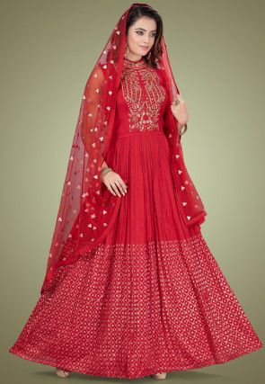 Embroidered Georgette Abaya Style Suit in Red