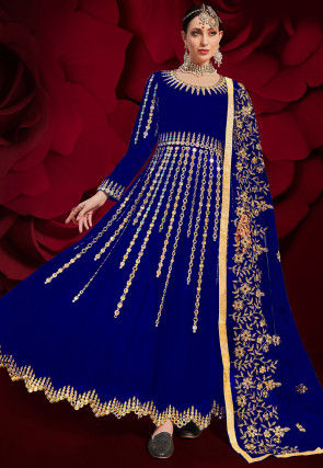 Embroidered Georgette Abaya Style Suit in Royal Blue