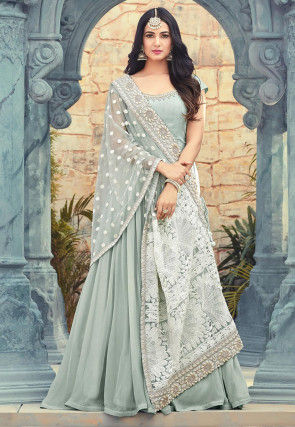 Embroidered Georgette Abaya Style Suit in Sea Green