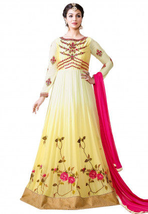 Embroidered Georgette Abaya Style Suit in Shaded Cream and Yellow