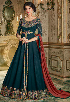 Embroidered Georgette Abaya Style Suit in Teal Blue