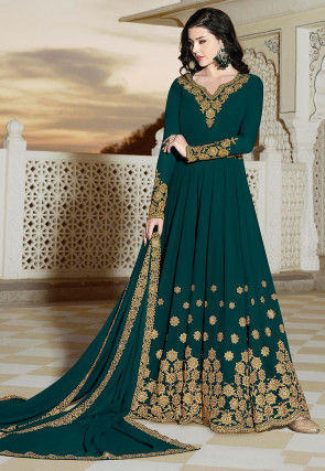 Embroidered Georgette Abaya Style Suit in Teal Green