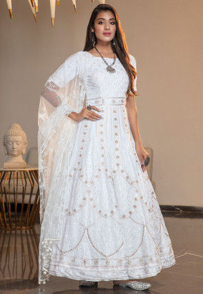 Embroidered Georgette Abaya Style Suit in White