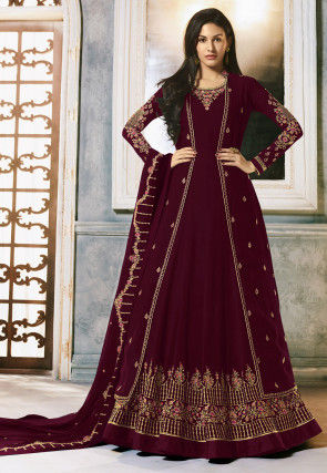 Embroidered Georgette Abaya Style Suit in Wine