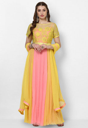 Embroidered Georgette Abaya Style Suit in Yellow and Baby Pink