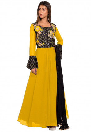 Embroidered Georgette Abaya Style Suit in Yellow and Black