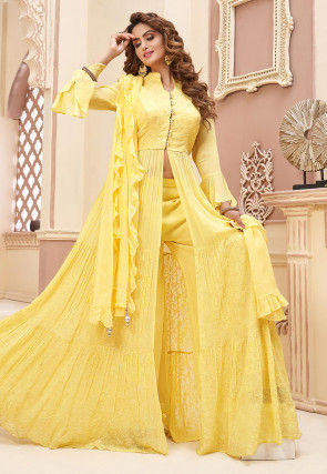 Embroidered Georgette Abaya Style Suit in Yellow