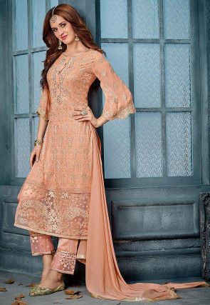 Embroidered Georgette Pakistani Suit in Light Orange