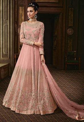 Embroidered Georgette Abaya Style Suit Pastel Pink