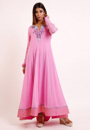 Embroidered Georgette Anarkali Kurta in Baby Pink