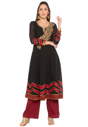 Embroidered Georgette Anarkali Kurta in Black